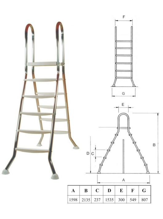Létra rozsdamentes kétágú 5+5 fokos medenceméret 135cm