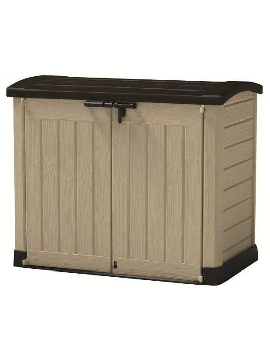 Store-it out Arc 1200L fa hatású műanyag kerti tároló beige/barna
