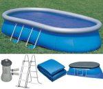 Intex medence ovál Oval Frame Pool 549x305x107cm 3,407 m3/h papírszűrős vízforgatóval #28192