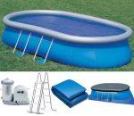 Intex medence ovál Oval Frame Pool 610x366x122cm 5,678 m3/h papírszűrős vízforgatóval #28194