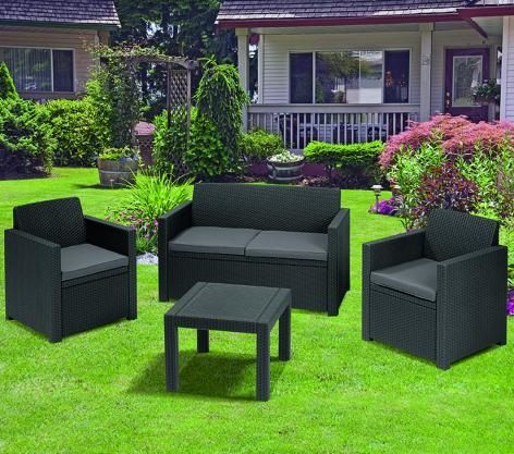 Alabama set plastic rattan garden furniture graphite-grey ALLIBERT ...