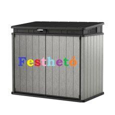 Elite Store 1150L festhető fa hatású műanyag kerti tároló szürke