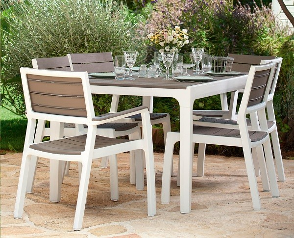 Holiday Set For 6 Person Wood Effect Garden Furniture White Cappuccino