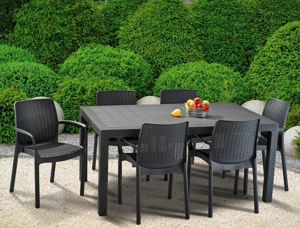 Formula set plastic rattan garden furniture graphite - Wetro ...
