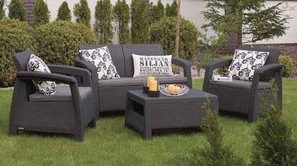 Corfu set plastic rattan garden furniture graphite-grey ALLIBERT ...