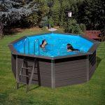 Kompozit medence kerek 4,12x1,24m 3m3/h homokszűrős vízforgató fólia 0,6mm
