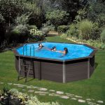 Kompozit medence ovális 6,64x3,86x1,24m 4m3/h homokszűrős vízforgató 0,6mm fólia