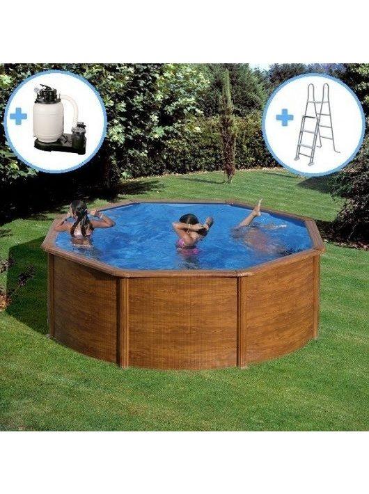 Gre Wood kerek medence szett 460 x 120 cm szűrőrendszerrel és létrával KIT460W