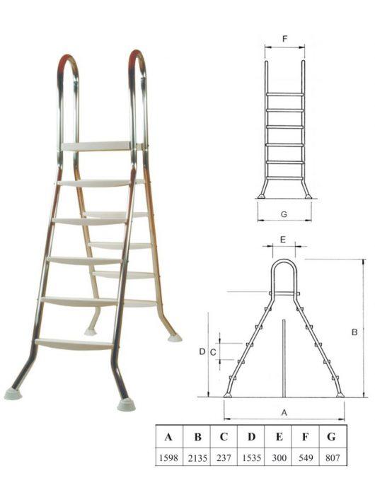 Létra rozsdamentes kétágú 5+5 fokos medenceméret 150cm
