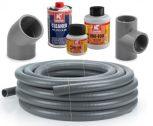 PVC nyomócsövek, idomok, ragasztók